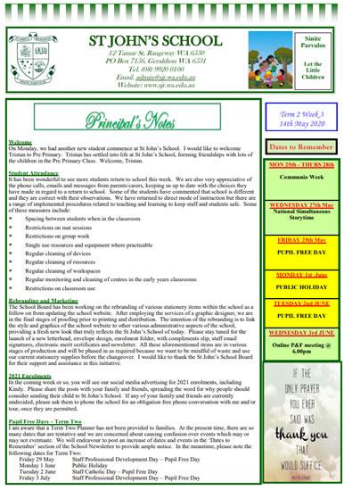 Newsletter 2020 – Term 2, Week 3