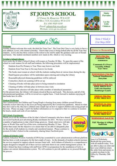 Newsletter 2020 – Term 2, Week 4