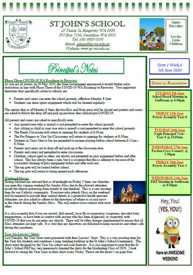 Newsletter 2020 – Term 2, Week 6  Copy