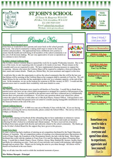Newsletter 2020 – Term 2, Week 7