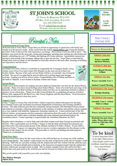 Newsletter 2020 – Term 3, Week 1